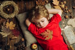 Cute little child boy are getting ready for autumn. Child advertise your product and services. Blonde little boy resting. With leaf on stomach lies on wooden royalty free stock images
