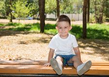 Cute little child boy in park on nature at summer Stock Image