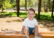 Cute little child boy in park on nature at summer. Royalty Free Stock Image
