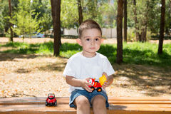 Cute little child boy  plays with toy car in park on nature at summer. Stock Photography