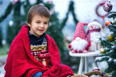 Cute little child, boy, sitting on a sledge next to a christmas Royalty Free Stock Image