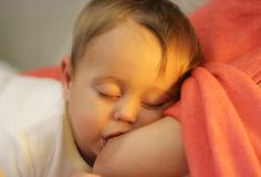 The  Child Fell Asleep on the Breast of Mather Royalty Free Stock Photo