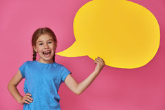 Girl with cartoon speech royalty free stock image