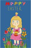 Cute little child girl holding painted egg in flowers royalty free stock photography