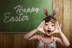 Cute little child girl wearing bunny ears Royalty Free Stock Photo