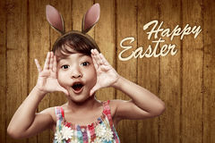 Cute little child girl wearing bunny ears Royalty Free Stock Photos