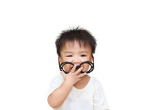 Cute little child with glass smile Stock Image