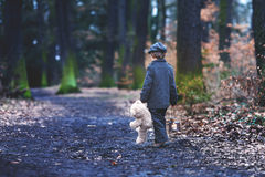 Cute little child, holding lantern and teddy bear in forest. Cute little child, preschool boy, holding lantern and teddy bear, walking in a dark forest Royalty Free Stock Photo