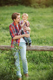 Cute little child outdoor with dad Stock Photography