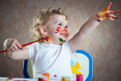 Cute little child painting Royalty Free Stock Photos