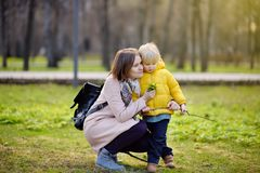 Cute little boy with his young mother playing in park. Cute little child playing in spring or summer park. Preschooler kid with yellow wild flowers. Toddler boy Royalty Free Stock Photography