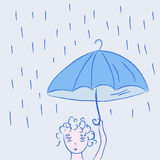 Cute little child in the rain Stock Image