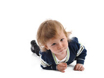 Cute little child smiling on the floor . isolated Royalty Free Stock Image