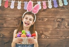 Girl holding basket with eggs Royalty Free Stock Photo