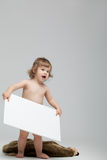 Cute little child with white board Stock Photo