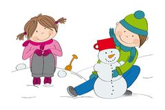 Cute little children boy and girl making a snowman Royalty Free Stock Image
