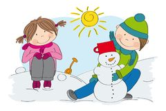 Cute little children boy and girl making a snowman Stock Images