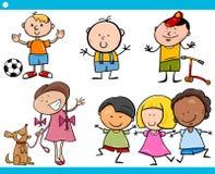 Cute little children cartoon set Stock Images