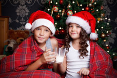 Cute little children drinking milk Stock Photography