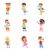 Cute little children eating ice cream. Happy children enjoying eating with their ice cream. Cartoon detailed colorful. Illustrations  on white background Royalty Free Stock Photos
