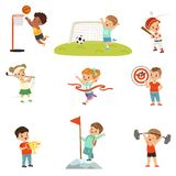 Cute little children playing different sports, footbal, soccer, golf, basketball, baseball, archery, mountaineering