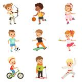 Cute little children playing different sports, soccer, basketball, archery, karate, cycling, roller skating. Skateboarding sport vector Illustrations isolated vector illustration