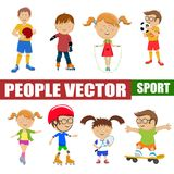 Cute little children playing different sports, soccer, tennis, cycling, roller skating, skateboarding on white Stock Photos