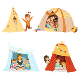 Cute little children playing and sitting in a tent teepee, set for label design. Cartoon detailed colorful Illustrations stock illustration
