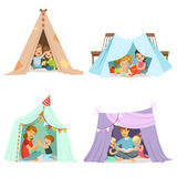 Cute little children playing with a teepee tent, set for label design. Cartoon detailed colorful Illustrations Stock Image