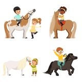 Cute little children riding ponies and taking care of their horses set, equestrian sport, vector Illustrations. Isolated on a white background Stock Photo