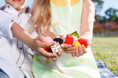 Cute little children sitting on the blanket Royalty Free Stock Photos