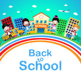 Cute Little Children Standing in Front of School with Buildings Royalty Free Stock Images