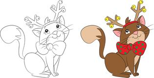 Cute little Christmas cat with reindeer antlers, perfect for children`s coloringbook vector illustration
