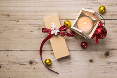 Cute little christmas decorative objects on wooden table Royalty Free Stock Photo