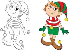 Cute little Christmas elf prepared especially for children`s book stock illustration