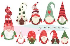 Free Cute Little Christmas Gnome Collections Set Royalty Free Stock Photo - 199837715