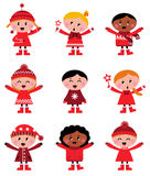 Cute little christmas kids collection stock illustration