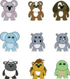 Cute little chubby animals cartoon set. In vector format very easy to edit Stock Images