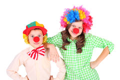 Cute little clowns. Cute little children dressed as the clowns Royalty Free Stock Image
