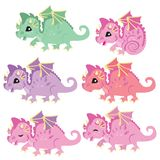 Cute little colorful dragons. Fairy tale dragons. royalty free stock image