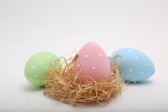 Cute little colorfully painted easter eggs Stock Images