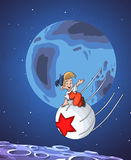 Little cosmonaut character cartoon style  illustration Stock Photography