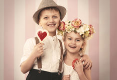 Cute little couple Stock Images