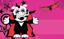 Cute little cow hug dracula costume halloween backgorund Royalty Free Stock Photo
