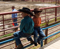 Cute little cowboys at a rodeo in colorado. Young lads perched on a railing at an annual round-up in the summertime stock photo