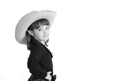 Cute little cowgirl on white Stock Photos