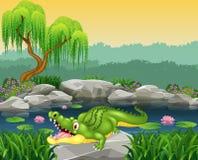 Cute little crocodile posing on the rock Royalty Free Stock Image