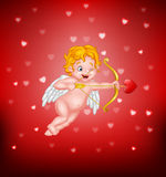 Cute little cupid aiming at someone Royalty Free Stock Photography