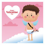 Cute little cupid happy valentine day pink sky Royalty Free Stock Photos