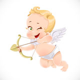 Cute little cupid shoots a bow Stock Image